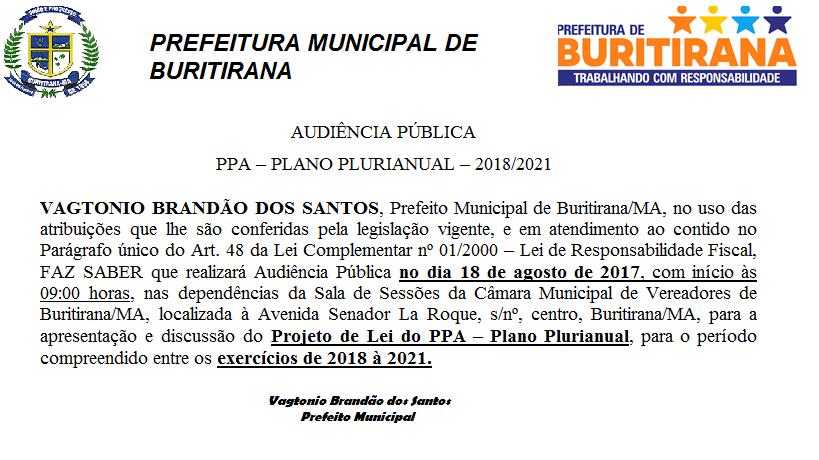 AUDIÊNCIA PÚBLICA PPA – PLANO PLURIANUAL – 2018/2021
