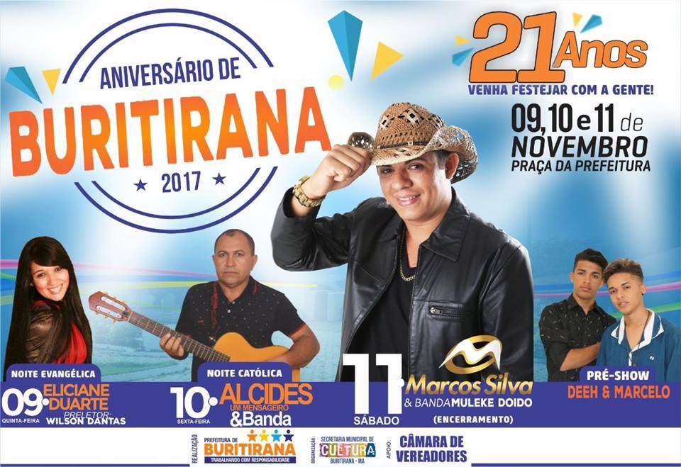 Prefeitura divulga programação do 21º aniversário de Buritirana