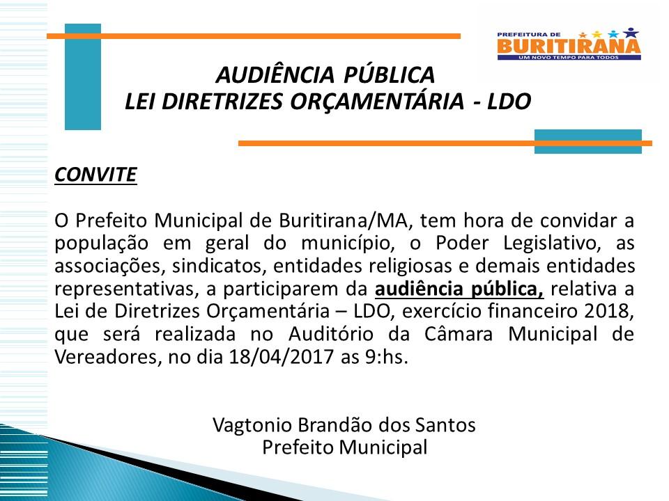 CONVITE AUDIÊNCIA PÚBLICA LDO - 2018